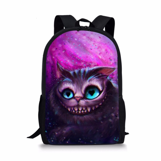 Alice cheshire Cat School Bags Cartoon Children Backpack SchoolBags for  girls boys orthopedic packbag mochila escolar 328c465327953