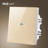 New Arrival Wallpad UK 110V 250V 1 Gang 1 Way Luxury Gold Crystal Glass LED Sensor Light Touch Switch Covers,Free Shipping
