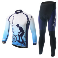 XINTOWN 17 חורף אופניים אופני רכיבה על אופניים ג 'רזי שרוול ארוך ספורט White & Blue