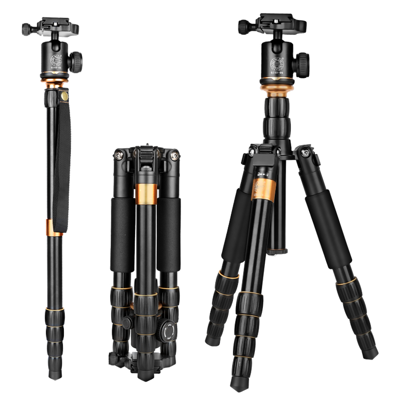 New QZSD Lightweight Compact Tripod Monopod & Professional Ball Head for Canon Nikon DSLR Camera / Portable Camera Stand new qzsd q668 60 inch professional portable camera tripod for canon nikon sony dslr ball head monopod tripod stand loading 8kg