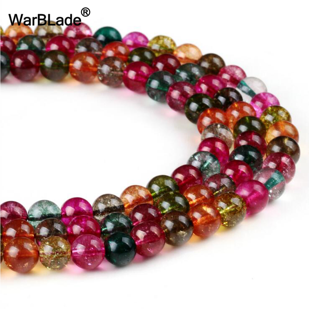 WarBLade Natural Stone Tourmaline crystal Beads Round Loose Stone Beads 4mm 6mm 8mm 10mm 12MM For DIY Bracelet Jewelry Making