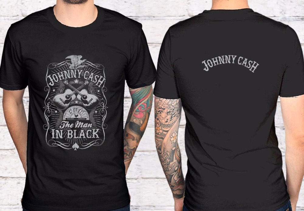 Cool Shirts O-Neck Men Short Sleeve Fashion 2018 Torrid Plus Size Johnny Cash Man In Black Men Black T-Shirt Tees ...