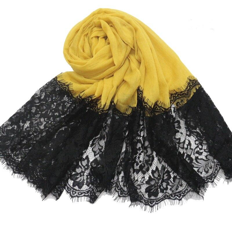 New Large Long Muslim Cotton Floral Black Lace Hijab Scarf Party Wedding Scarf Shawls Pashmina Muffler Turkish Scarves Hijabs