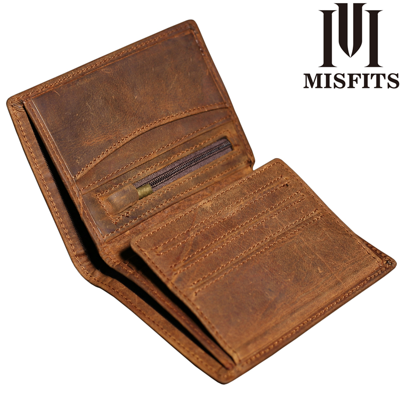 MISFITS 2017 Genuine Leather Wallet Men Vintage Coin Pocket Bifold Wallets Male Crazy Horse Leather Zipper Design With Coin Purs digital optical audio cable toslink gold plated spdif coaxial cable for blu ray cd dvd player xbox 360 ps3 av