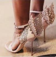 Elegant Metallic Leather Butterfly Wing Sandal High Heels Rose Gold Pin buckle Metal Stiletto Heel Sandal Glitter Laser cut Shoe