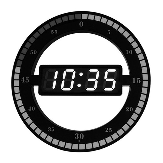 LED Multifunction Electronic Clock Creative Mute Hanging Wall Clock Black Circle Automatically Adjust Brightness Desk Clock