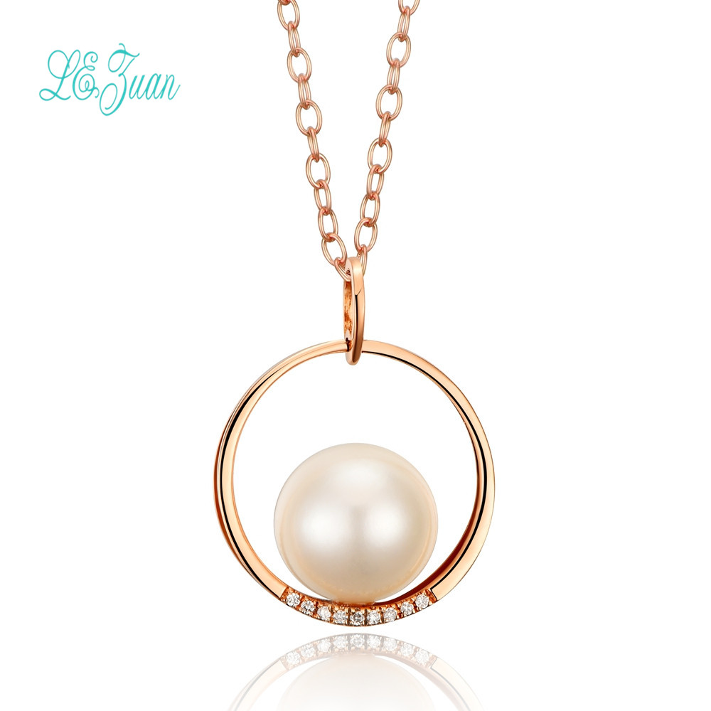 l zuan font b Necklace b font For Women Freshwater Pearl Natural Round Pendant 18K Rose