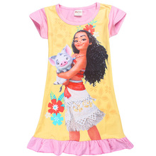 4-10Years 2017 New Cartoon Trolls summer children kids girl tees dress fashion moana clothing cute design girls princess dresses