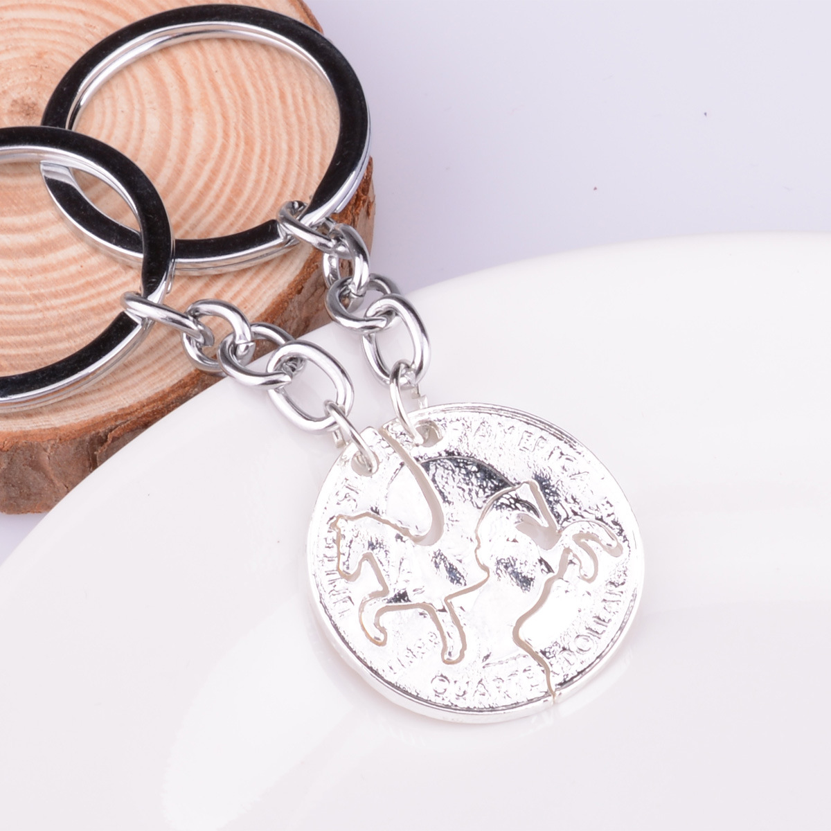 1 Pair Horse Puzzle Coin Pendant Alloy Keychain Couple Key Ring BFF Lover Gift