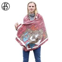 FS Flower Print Cashmere Scarf Ethnic Winter Warm Luxury Brand Long Scarves Women 2017 Wool Shawls