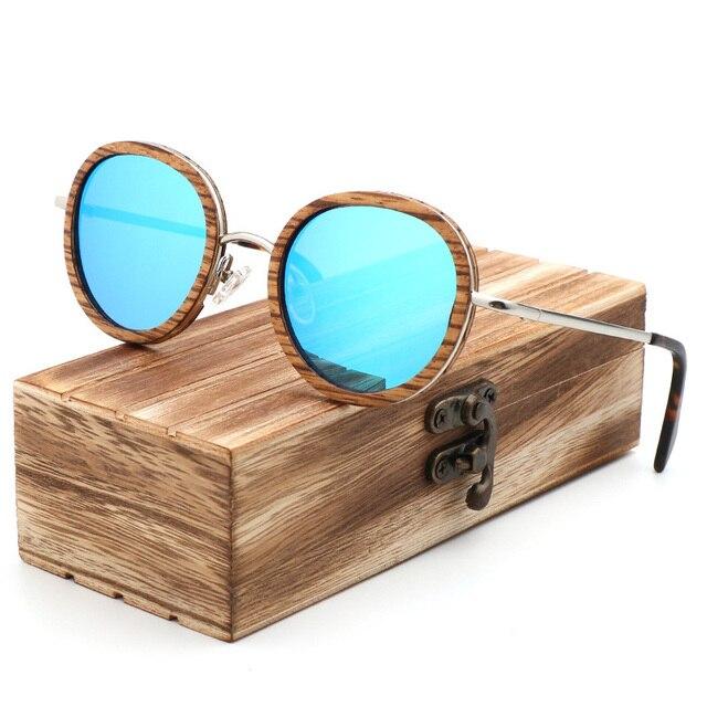 New polarized wood sunglasses round bamboo glasses fashion women  Sun glasses men UV400 Eyewear Wooden Gift Box Gafas de sol