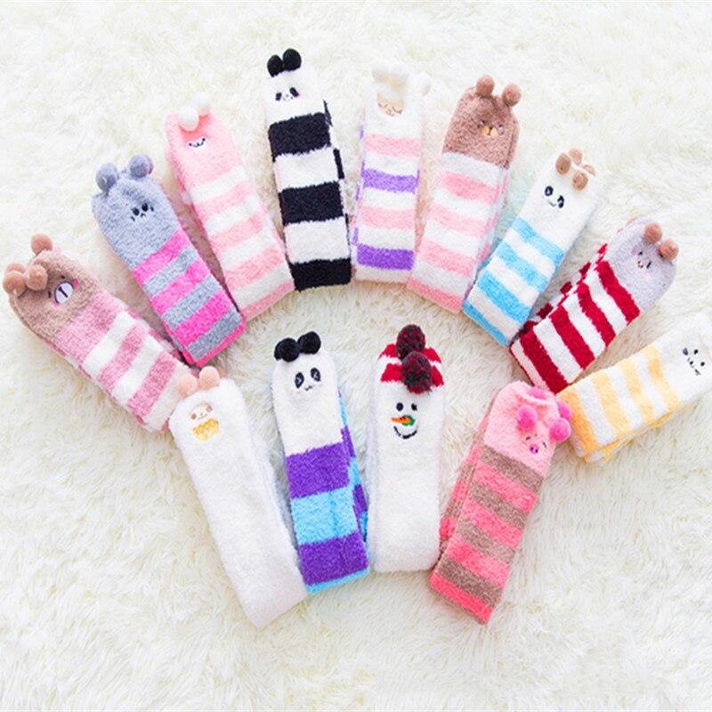 Coral Velvet Straiped Winter Girls cute socks Women Warm Socks Leg Warmer Knee High Sokken Sox