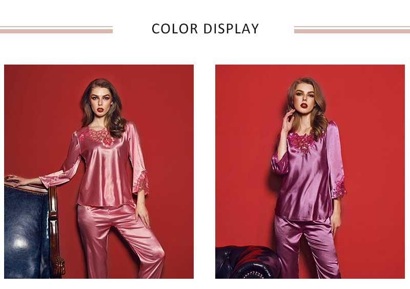 b7573f50e1 2018 Caiyier Silk Pajamas Sets Women Summer Solid 2018 New Elegant  Nightwear Sets Pink Purple Sleepwear Pajamas Sets LSB7851. - 01 - 02 - 03  - 03-11 - 04 ...