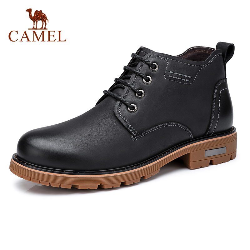 CAMEL Men Boots Genuine Leather Boot Ankle Short Soft Casual Tooling Leather Men Shoes Wear resistant