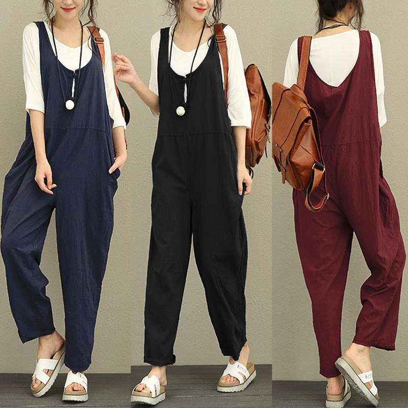 Celmia 2018 Summer Autumn Plus Size Women Jumpsuit Cotton Linen Romper Casual Sleeveless Solid Loose Trousers Overall Long Pants