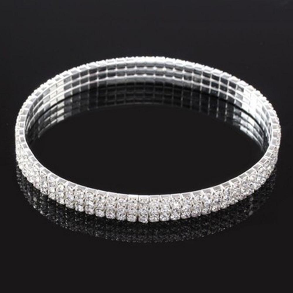 Popular Jewelry Flash Rhinestones Inlaid Multi-layer Stretch Anklet