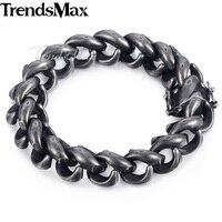 Trendsmax 316L Stainless Steel Upturn S Bracelet Mens Bracelet 15mm Gunmetal Tone Magnet Clasp KHB473