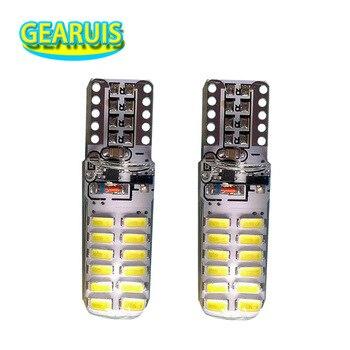 100pcs T10 Silicone Strobe Flash Shine 24smd 3014 LED 194 168 W5W Car Auto led DRL License Plate Wedge Light Bulb Lamp White 12V