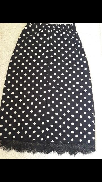 Summer Skirts High Waist Women'S Hot Design Korea Design Slim Black Cute Sweet Girls Patchwork Lace Polka Dot Skirt Long photo review
