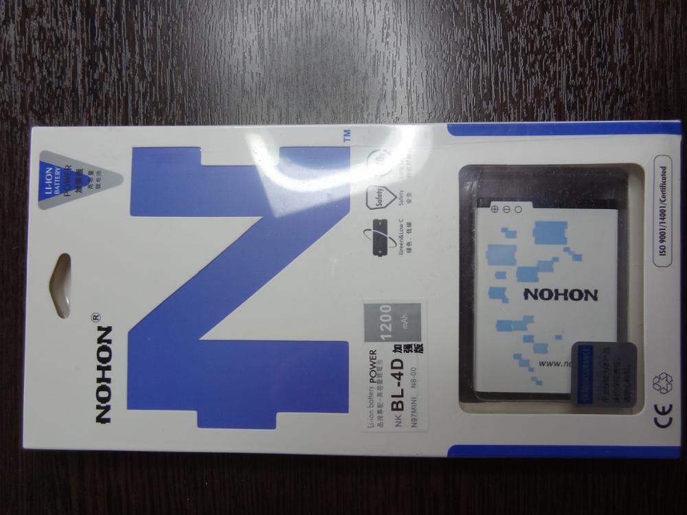 Top Quality NOHON Lithium Polymer Battery BL-4D For Nokia N97 MINI N8 E7 E5  803 702T E6 N5 Replacement Batteria BL 4D 1200mAh