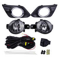 Auto Fog Lights Kits Halogen Lamp Source for Nissan Rogue X-Trail 2014 4300K Yellow ABS Plastic 12V 55W Plating Light Covers