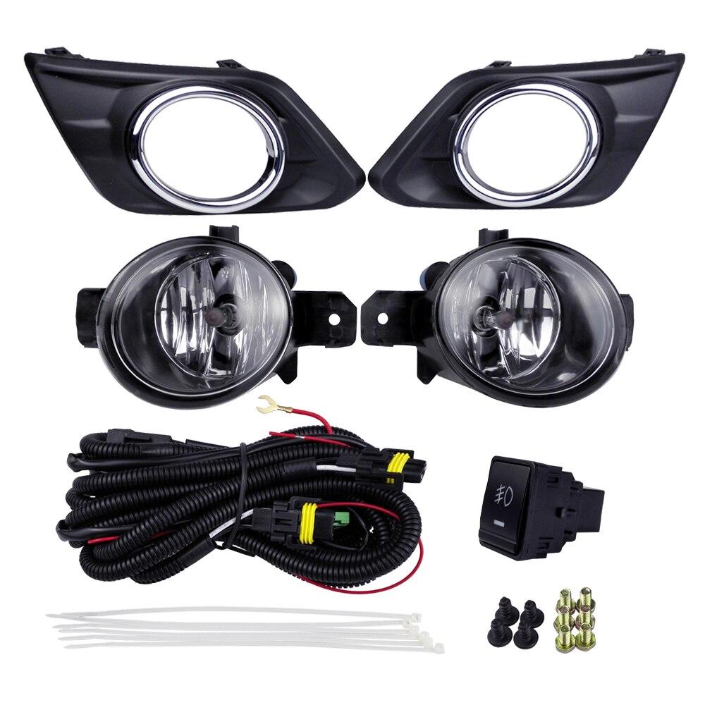Kits de feux de brouillard Auto Source de lampe halogène pour Nissan Rogue x-trail 2014 4300 K jaune ABS plastique 12 V 55 W couvertures de lumière de placage