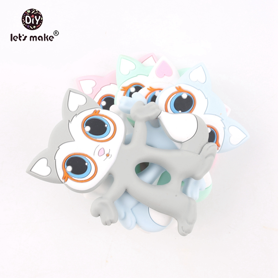 Let s make 10pcs Silicone Cats Pendant Food Grade Silicone Teethers Cartoon Pussycat DIY Teething Necklace