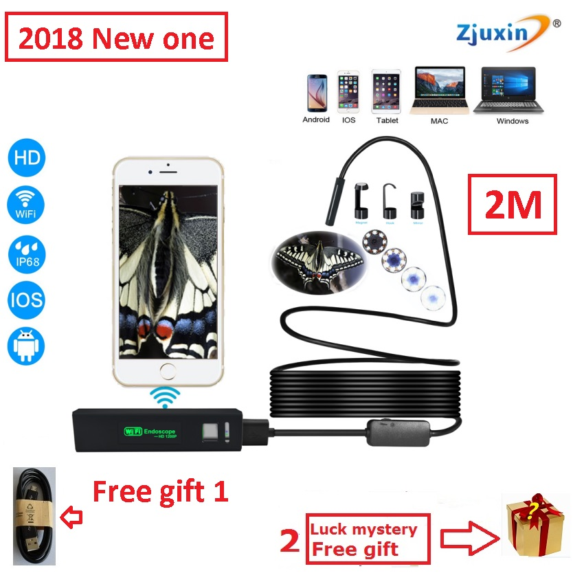 2M WIFI Endoscope New Camera 8mm HD Lens USB Iphone Android endoscope Tablet Wireless Endoscope wifi softwire 3 5m wifi endoscope new camera 8mm hd lens usb iphone android endoscope tablet wireless endoscope wifi softwire
