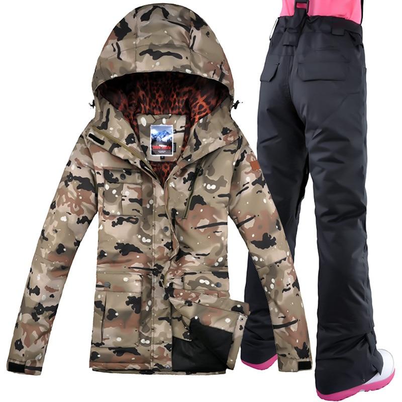 2019 GSOU neige femmes Camouflage Ski costume Snowboard veste pantalon Super chaud coupe-vent imperméable respirant Ski veste vêtements