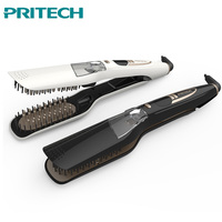 Pritech Professional Steam Hair Straightener Ceramic Hair Straightening Brush Flat Iron Spray Vapor Styling Tools LED Display