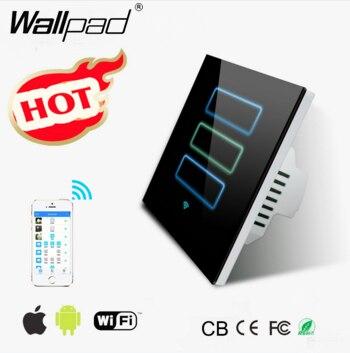 Wallpad App WIFI Dimmer Light Switch Black EU UK 110~220V 2.4 Ghz Wifi <font><b>IOS</b></font> Android Wireless <font><b>Phone</b></font> Dimmer Led Light Switch