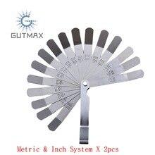2Pcs 16 Blades Feeler Gauge Metric & Inch System Voelermaat Stainless Steel Thickness Gauges HY10