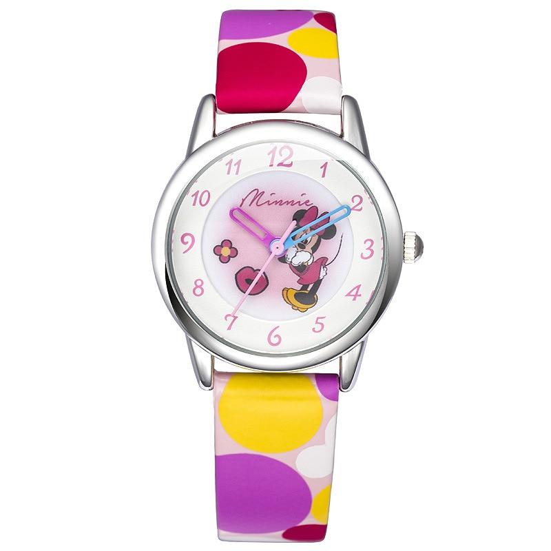 Disney brand children girls students leather quartz watches cartoon Minnie mouse waterproof original gift box NO.MK-14031