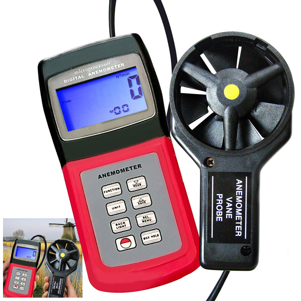 Digital Thermo Anemometer Speed Air Wind Flow Temperature Velocity Beaufort Scale Weather Analysis Meter 24 group data стоимость