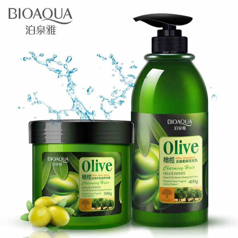 2pcs BIOAQUA Olive Shampoo/Mask Anti-dandruff Olive Oil Shampoo Restores Damaged Hair Deeply Nourishes All Hair Types Color