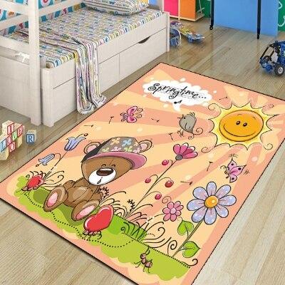 Else Orange Floor Spring Bears On Floral Flowers 3d Print Non Slip Microfiber Children Kids Room Decorative Area Rug Kids  Mat