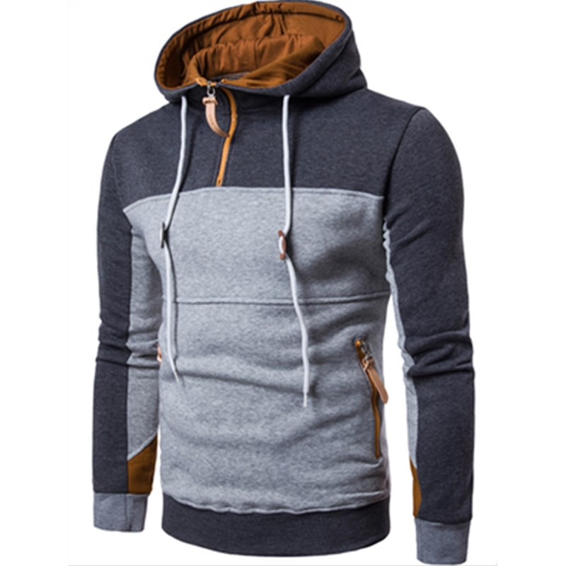 2018 herbst Winter Mode Nähte Hoodies Lässige Sportswear Full Zip Up Hals Mit Kapuze Sweatshirt Pullover Hoody Mantel 3XL