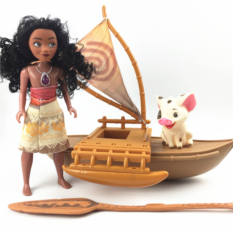23cm sailboat Moana figures lovely moana dolls Maui Chick Handan Spotted Pig Action Figures Toys Model For Girls Christmas Gift 12pcs set children kids toys gift mini figures toys little pet animal cat dog lps action figures