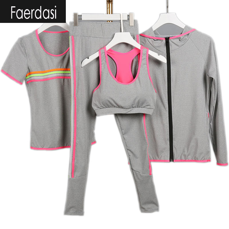 faerdasi 2017 Yoga suit Women Fitness Sportswear Running Exercise Tracksuits for women Yoga Sets 3 colors