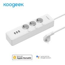 Koogeek WiFi Smart Защита от перенапряжения индивидуально контролируемых 3 Электрический штекер для Apple HomeKit Alexa Google помощник