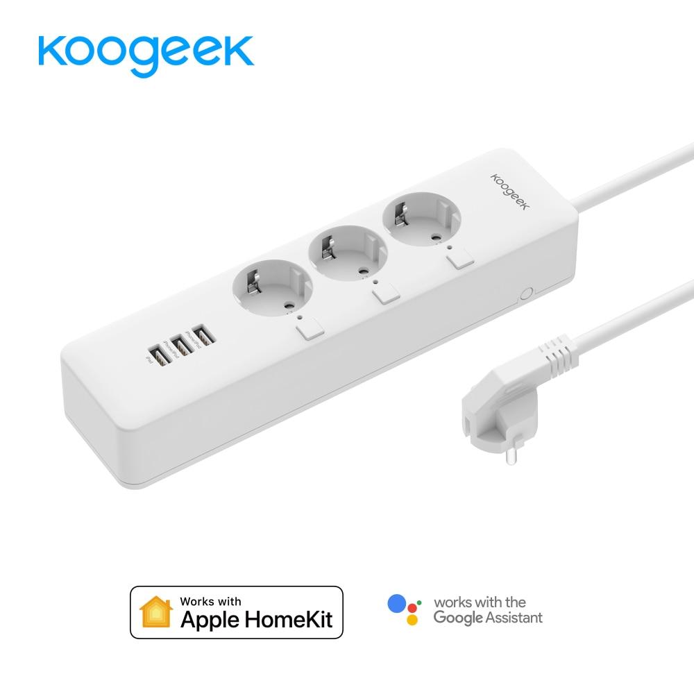 Koogeek WiFi Smart Protector contra sobretensiones de salida control individual 3 Outlet Power Strip para Apple HomeKit Alexa Google asistente