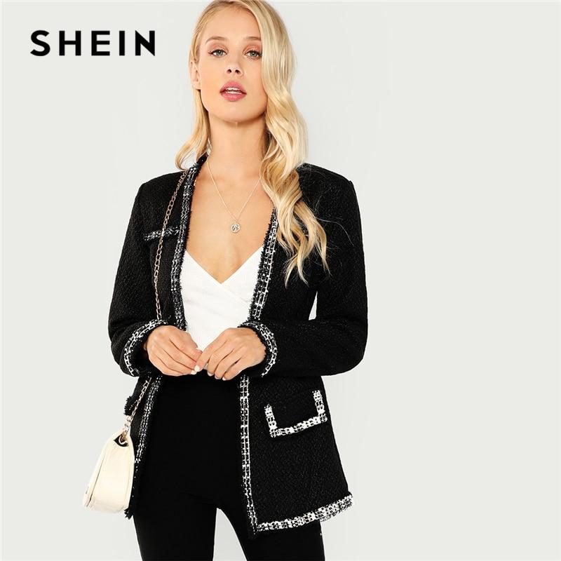 SHEIN noir élégant Highstreet ouvert avant effiloché bord solide mode veste 2018 automne bureau dame femmes manteau et vêtements d'extérieur