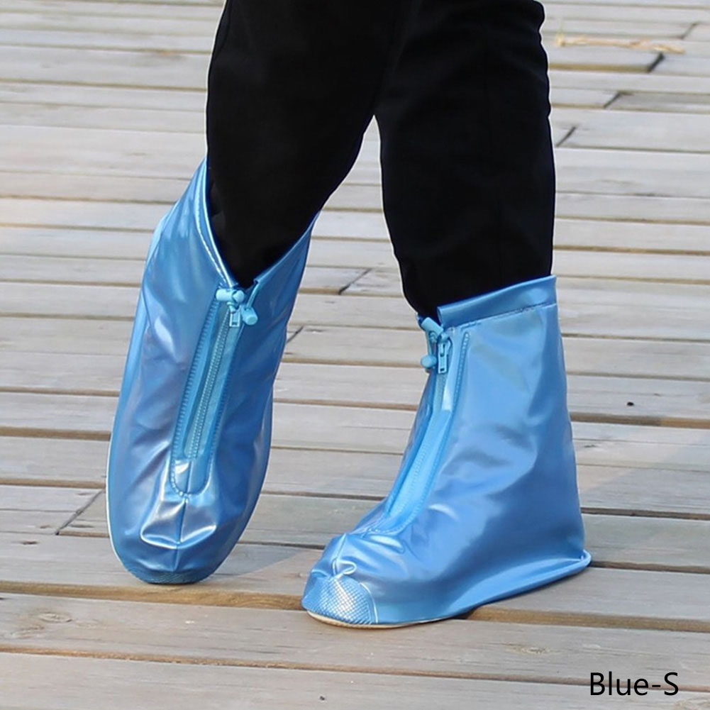 1pair Reusable Waterproof Rain Shoes Covers Protector Slip-resistant Zipper Rain Boot Overshoes Men&womens Shoes Accessories