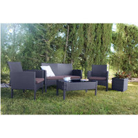 Garden and terrace set. Outdoor furniture Modular Sofa Oklahoma. Composed by 1 double sofa, 2 armchairs and 1 table.