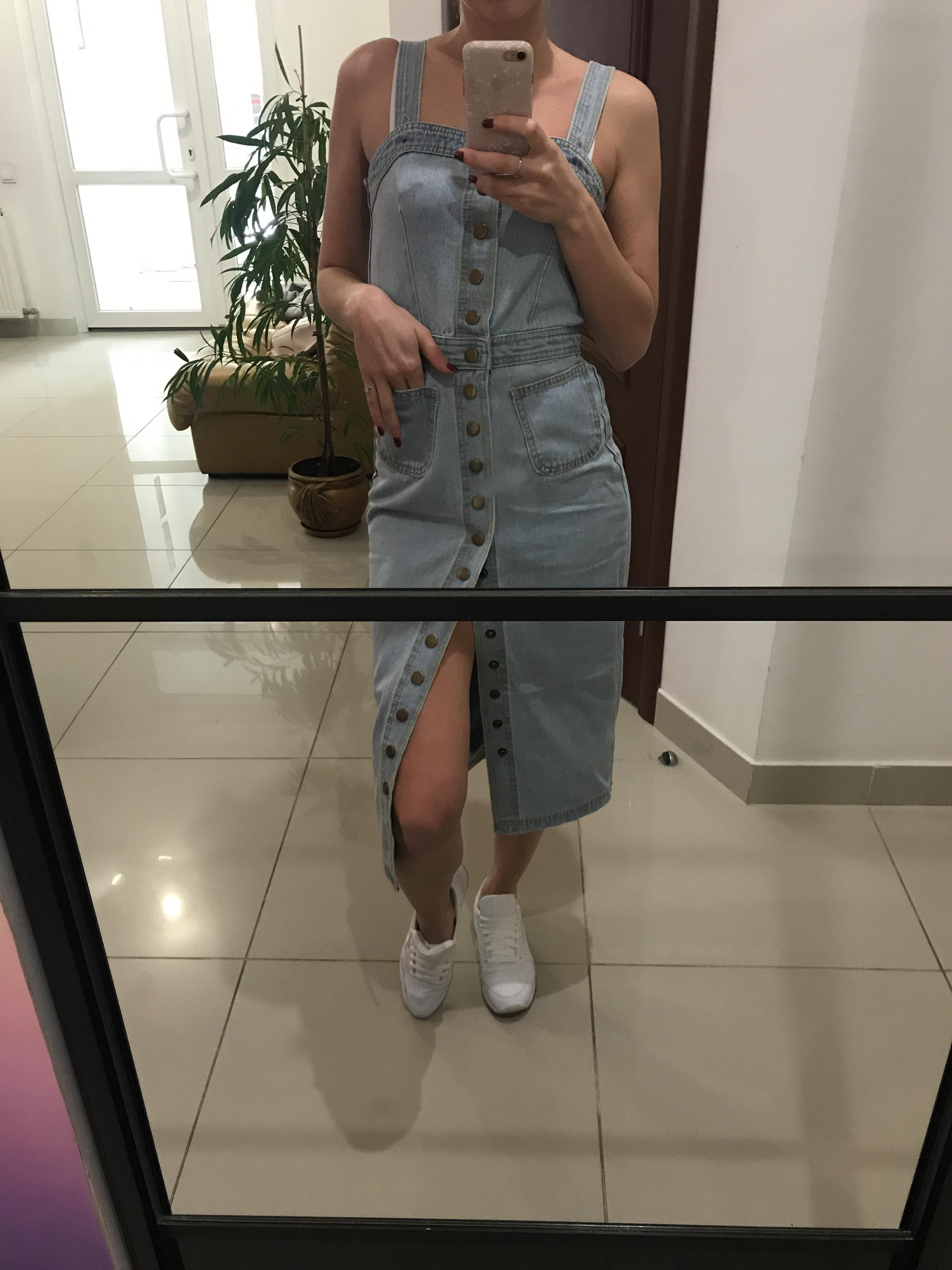Summer Autumn Women Denim Dress Sundress Sarafan Overalls Dress Vintage Blue Sexy Bodycon Female Jeans Dress photo review