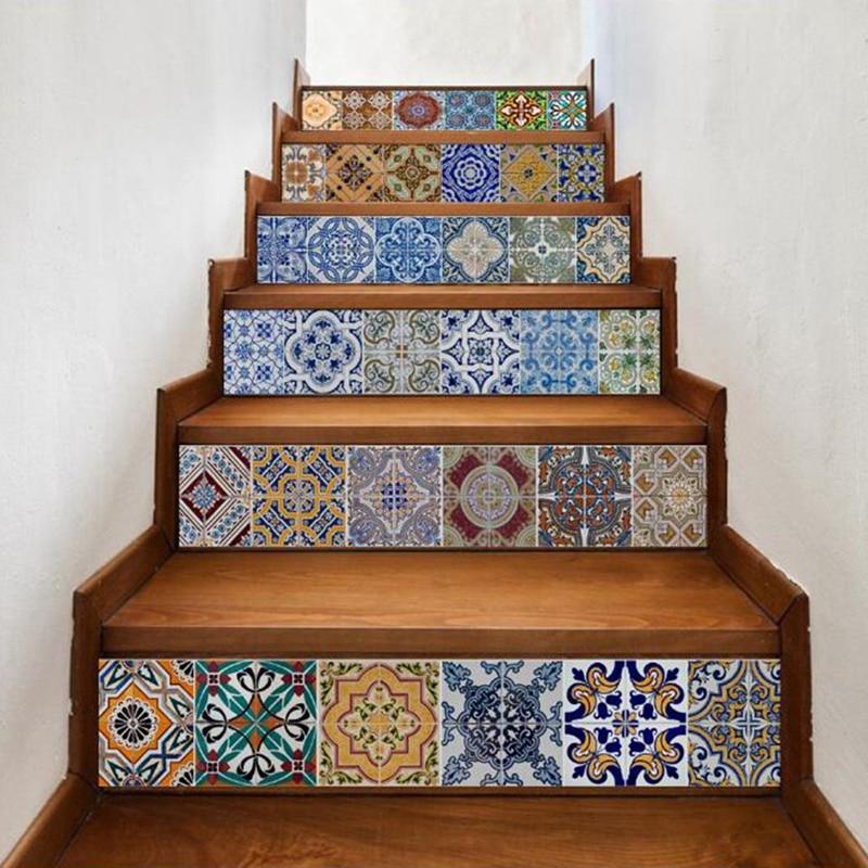 6 Pcs/Set Creative DIY 3D Stairway Stickers Ceramic Tile