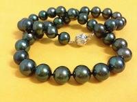 AAAAA 17 10 11 мм природный реал круглый TAHITIAN черный жемчужное ожерелье>>> девушки колье ожерелье Бесплатная доставка