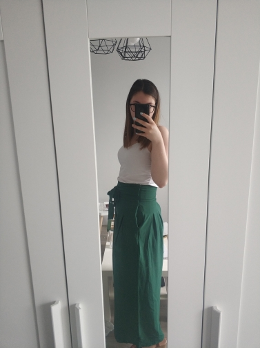Green Elegant Office Lady Self Belted Box Pleated Palazzo High Waist Minimalist Wide Leg Pants Autumn Casual Trousers photo review