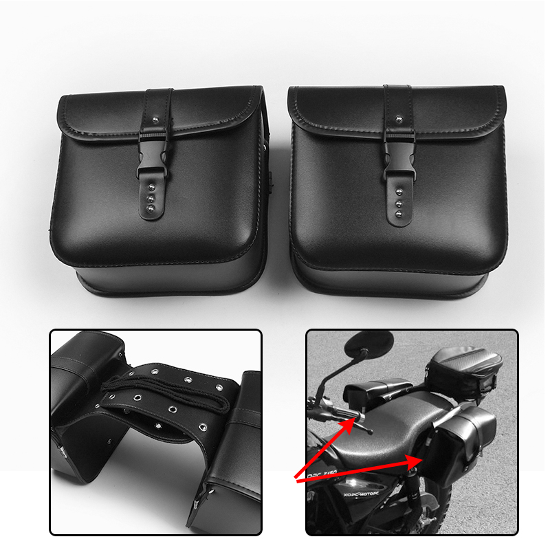 XL883 XL1200 Motorcycle Saddle Bags For Harley Sportster XL 883 XL 1200 Pu Leather Side Tool Bag Luggage Black And Brown