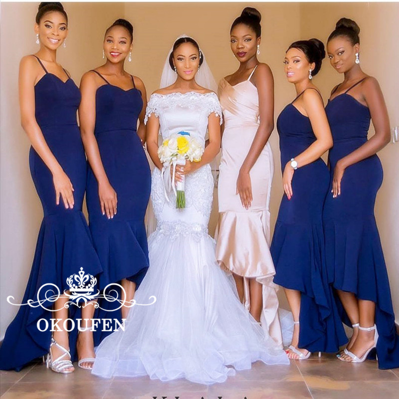 Ruffles High Low Mermaid   Bridesmaid     Dresses   2018 Sexy Spaghetti Strap Royal Blue Satin Long Party   Dress   Maid Of Honor Gown